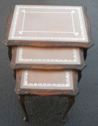 Nest of Tan Leather Top Walnut Coffee Tables